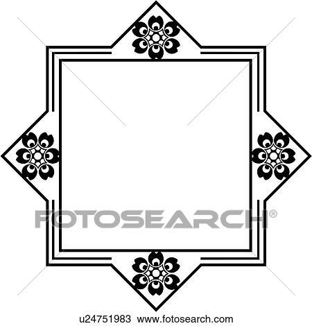 clipart of blank border fancy folk art frame sign square