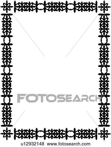 Clip Art of , blank, border, fancy, frame, geometric, rectangle ...