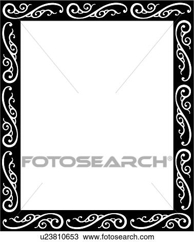 Clipart of , blank, border, fancy, frame, rectangle, sign, swirls ...