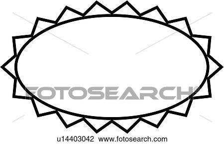 Clipart Of Blank Border Fancy Frame Oval Simple U14403042