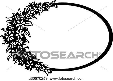 Clip Art of , border, cameo, fancy, floral, frame, oval, u30570259 ...