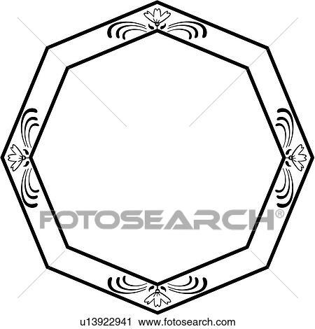 Clipart Of Fancy Blank Frame Octagon Border Ornament