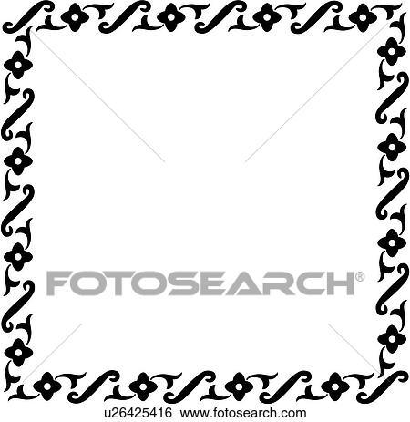 Clip Art of , sign, blank, border, fancy, frame, folk art, square ...