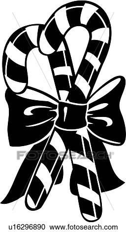 Clipart Of Bow Candy Cane Candycane Christmas Holiday Xmas