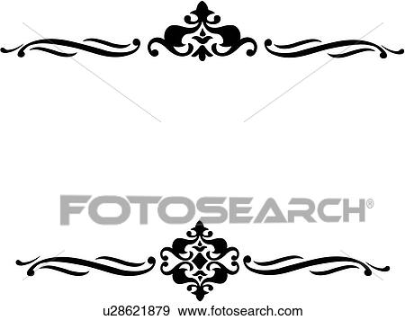 clip art of blank border crest repeatable scroll u28621879