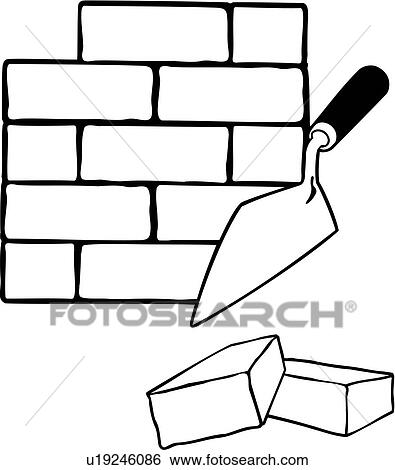 Clip Art Of Bricklaying Elements Occupations Sign Trades Rh Fotosearch Com Brick Wall Clipart Black And White