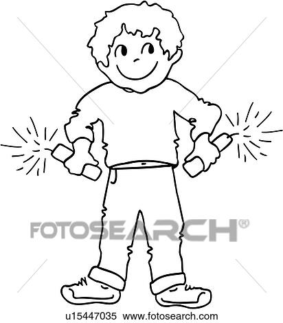 4th Of July Boy Cartoonindependence Day Child Children Fire Cracker Happy Holiday Kid Sparkler Youth People Clipart