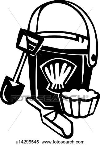 Clipart Of Beach Bucket Seasons Shovel Summer Toy U14295545