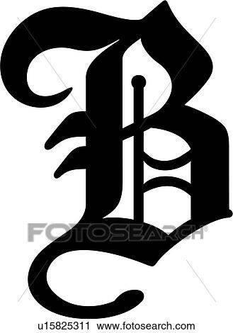 Clipart Of Alphabet Old English B Capital Letter Lettered