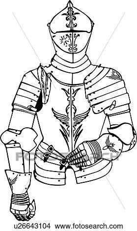 Armure chevalier moyen ge arme armes clipart u26643104 fotosearch - Dessin armure ...