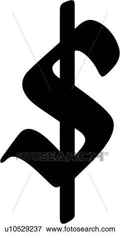 Clip Art Old English Dollar Sign Money Currency American