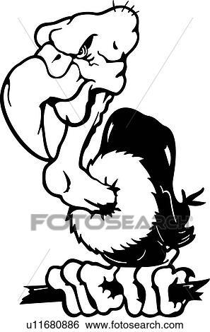 Animal Oiseau Dessins Animés Mascotte Charognard Vautour Clipart