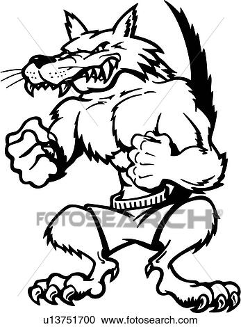 Clipart Of Cartoons Fang Mascot Muscles Wolf Animal