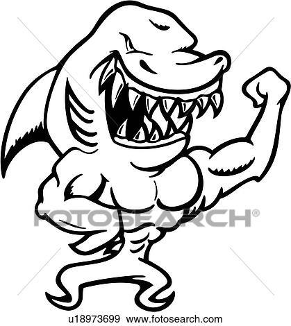 Clipart dessin anim m choires mascotte muscles requin cartoons u18973699 recherchez - Requin en dessin ...
