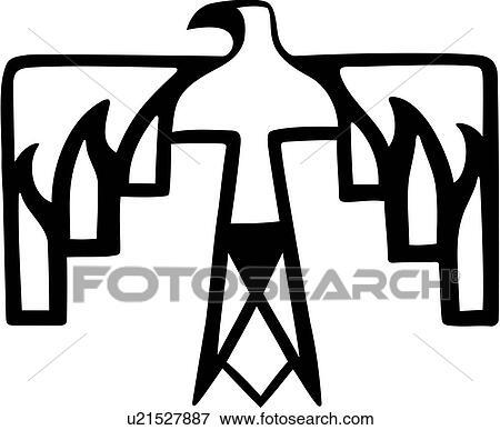2f307eabd0302 Clip Art Of American Animal Bird Native Southwest Thunderbird