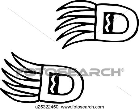 Bear Claw Paws Southwest Track Tribal Clipart