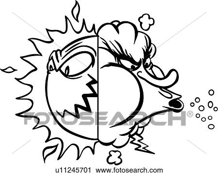 clipart of cartoon cold hot sun wind u11245701