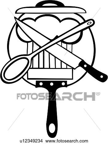 Chef Cook Cooking Kitchen Knife Pan Sign Spoon