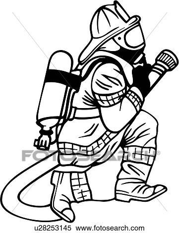 Clipart Abteilung Notfall Bereitschaftsdienste Kämpfer Feuer