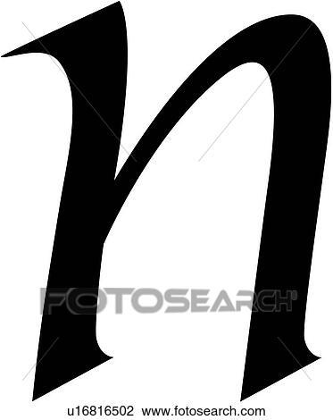アルファベット カリグラフィー 手紙 小文字 N 原稿 クリップ