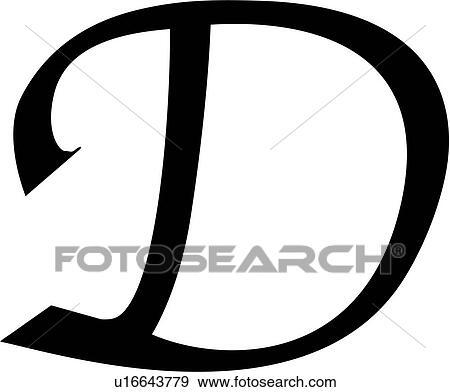 clip art of alphabet block calligraphy capital chisel d
