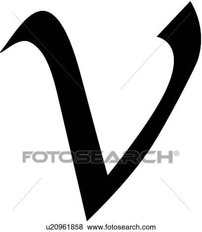 Alphabet Calligraphy Letter Lowercase Script V