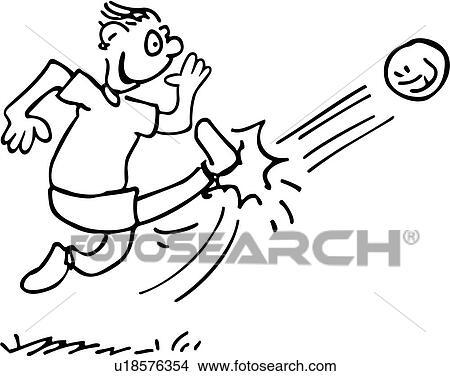 clipart of kick action ball cartoon cartoons goal