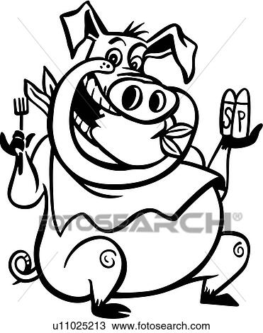 clipart of barbeque bbq cartoon pig pork u11025213 search