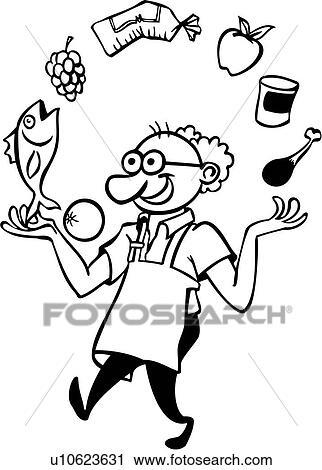 dessin anim chef cuistot cuisinier cuisine gourmet jongler - Dessin Cuisinier