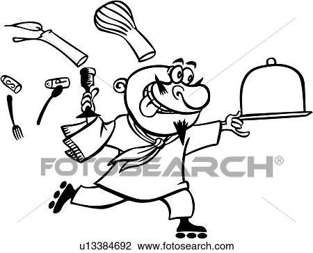 Clipart dessin anim chef cuistot cuisinier cuisine for Dessin cuisine