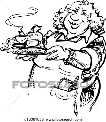 Clipart Of Cafe Diner Female Food Lady People Restaurant
