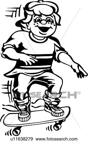 Clip Art Of Action Boy People Skateboarding Sport Poses