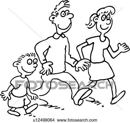 Cartoons Family People Walk Child