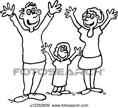 Clip Art - karikaturen, kind, kindern, vati, familie ...