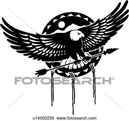 Clipart Of Arrow Decor Eagle Graphic Illustrated Panel Native