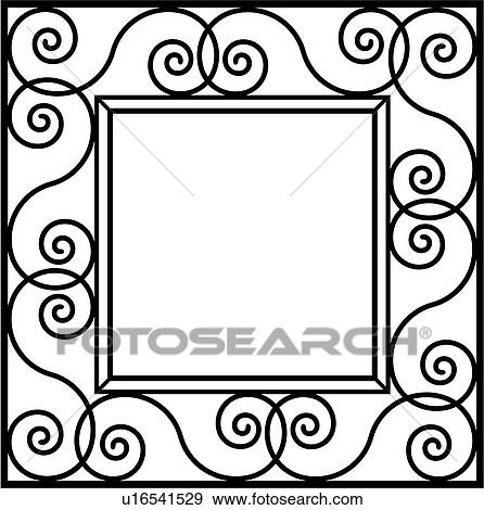clip art of border fancy frame iron ironwork square swirls rh fotosearch com fancy clipart letters funny clip art free