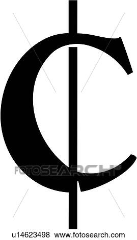 Clip Art Of Cent Cent Sign Cent Symbol Currency Money Swash