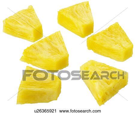 Stock Photography of Six Pineapple Segments / Chunks Cut ...