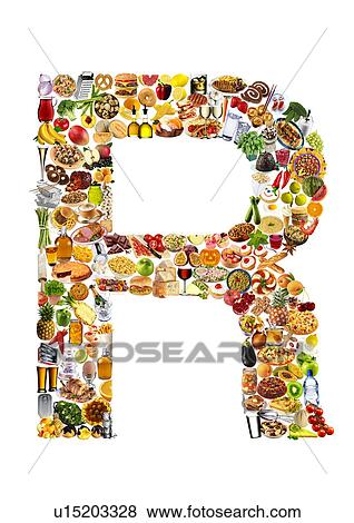 pictures of foodfont letter r on white non exclusive u15203328