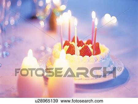 Birthday Cake With Strawberry And Whipped Cream