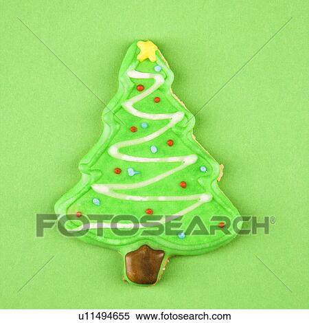 Christmas Tree Sugar Cookie With Decorative Icing Stock Photography