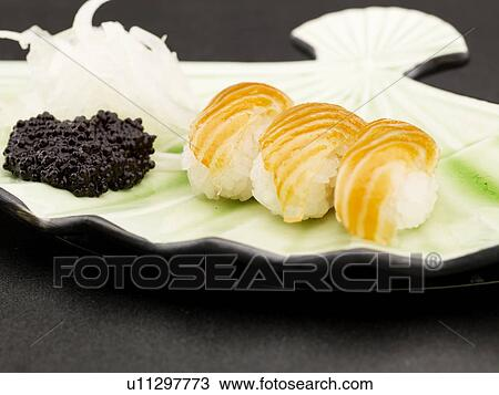 Stock photo of food plate salmon decoration food for Poster deco cuisine