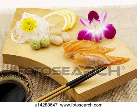 Picture of food plate salmon decoration food styling for Poster deco cuisine