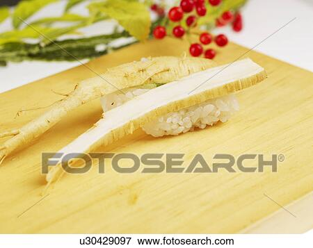 Picture of food plate ginseng sushi decoration food for Poster deco cuisine