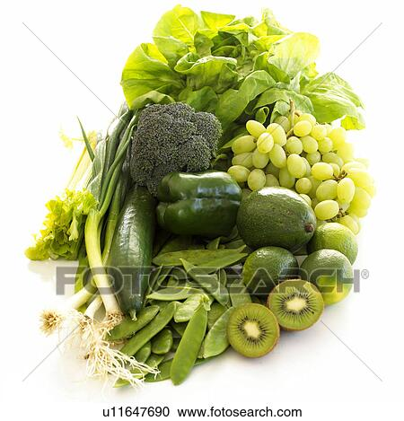 stock photography of 5 a day green fruits and vegies u11647690