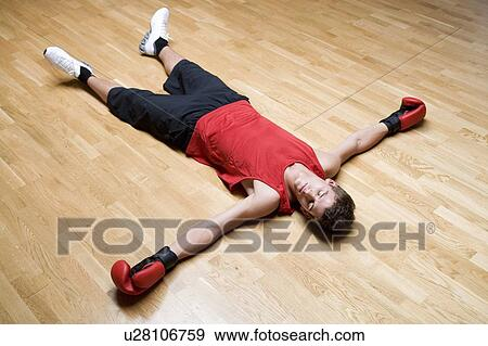 A boxer laying on the floor Stock Photo