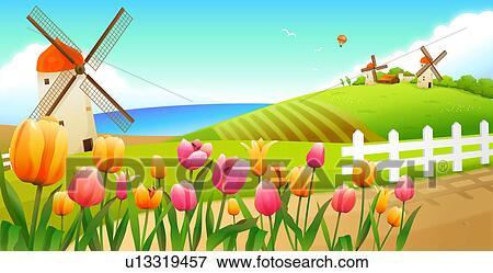 クローズアップ の 花 風景 そして 風車 中に 背景 イラスト