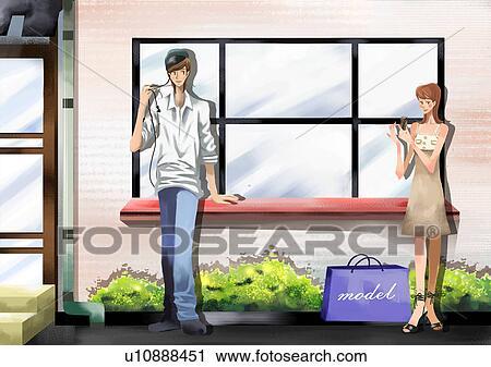 人 と 女性 窓際に立つ クリップアート U10888451 Fotosearch