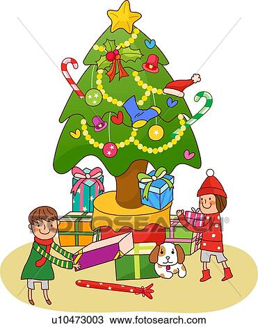 Drawings Of Christmas Presents.Boy And A Girl Standing Near A Christmas Tree And Holding Christmas Presents Drawing