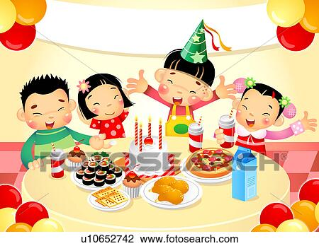 Clip Art Of Children At Birthday Party U10652742 Search Clipart